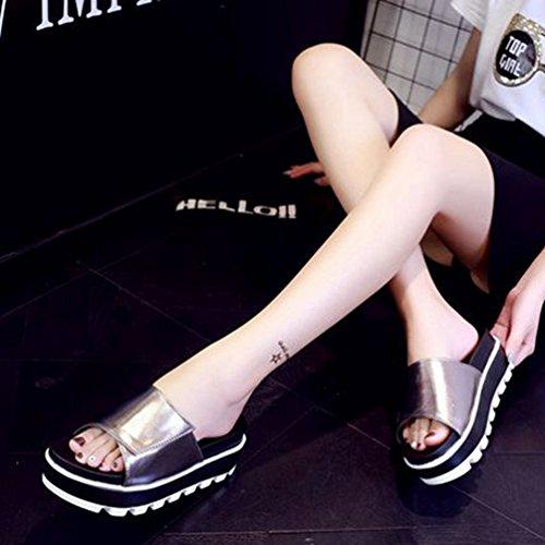 Open Plate de Chunky Sandales La Féminine Sandals Mode Blanc Beach Summer Haut Noir Forme la Or Talon Toe Rose Glisse qXwv0dnw