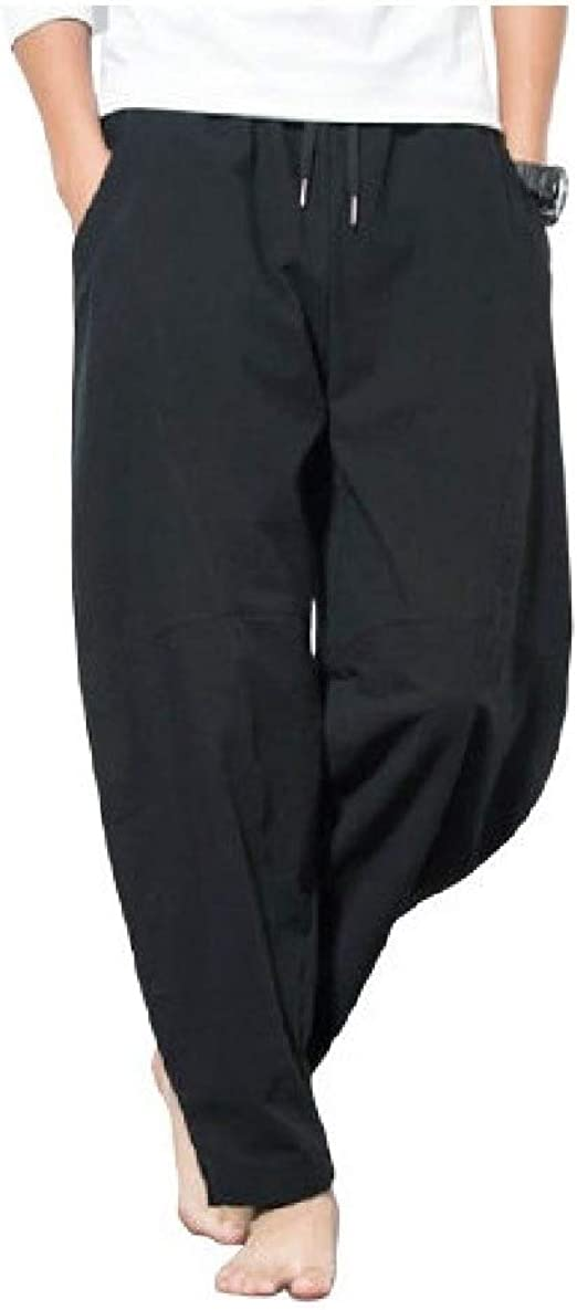 Tootess Men Slim Fit Chinese Style Mid Waist Solid Plus-Size Pocketed Sweatpants