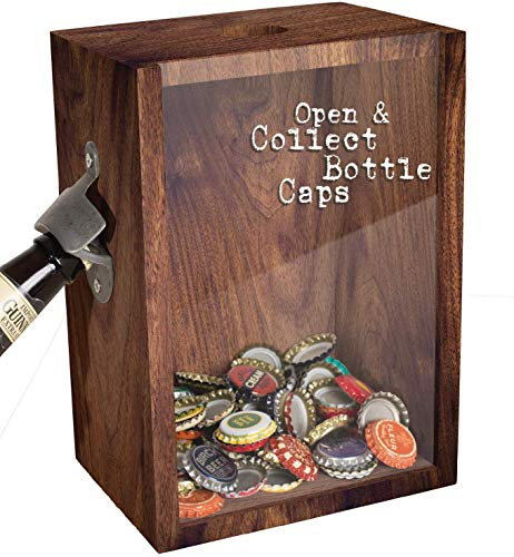 Bottle Opener And Cap Saver - Classic Rustic Wood Standing Or Wall Mountable Metal Bar Bottle Opener With Beer And Soda Cap Collector