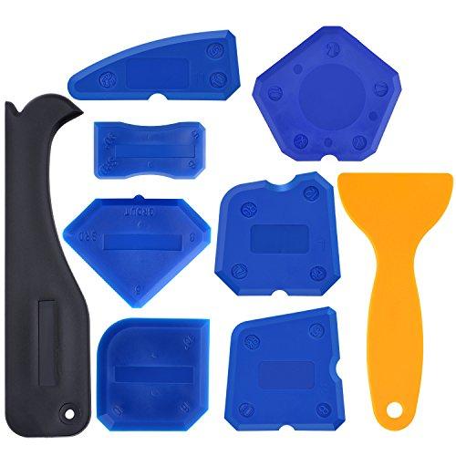 Hestya 9 Pieces Caulk Tool Kit Caulking Tools for Joint Sealant Silicone Grout Caulk Finishing Removing (Blue)
