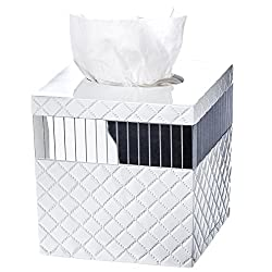 Quilted Mirror Tissue Box Cover Square (6 x 6 x 5.75) – Decorative Bath Tissues Paper Napkin Holder- Modern Serviette Napkins Container- Bottom Slider- For Cute Elegant Bathroom Décor