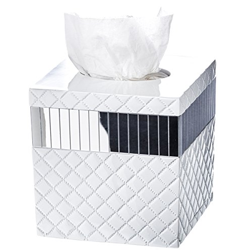"Quilted Mirror Tissue Box Cover Square (6"" x 6"" x 5.75"") – Decorative Bath Tissues Paper Napkin Holder- Modern Serviette Napkins Container- Bottom Slider- For Cute Elegant Bathroom Décor"