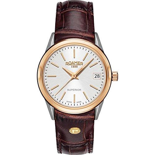 Roamer of Switzerland Women's Superior 30mm Brown Leather Band Steel Case Quartz Watch 508856 49 15 05