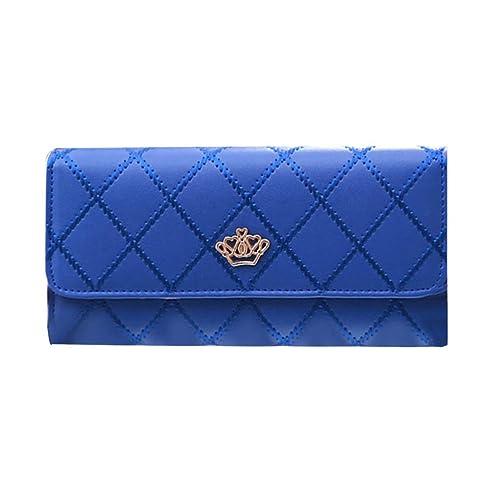 Cómodas mujeres de la corona Carteras largas Bolso de mano de cuero de la PU Monedero de las mujeres de la moda Monedero portátil Mujer Bolso femenino: ...