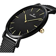 Tonnier Black Slim Stainless Steel Mesh Strap Mens Watch Quartz Watch for Men Golden Hands