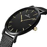 Tonnier Black Slim Stainless Steel Mesh Strap Mens Watch Quartz Watch for Men Golden Hands