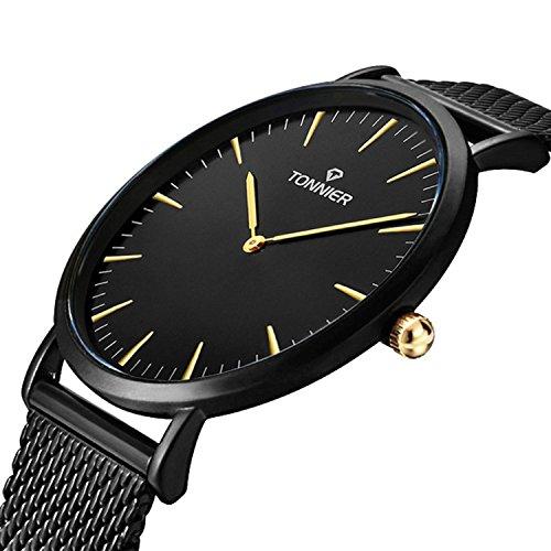 Mesh Steel Watch (Tonnier Black Slim Stainless Steel Mesh Strap Mens Watch Quartz Watch for Men Golden Hands)