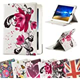 32nd® Designer book wallet PU leather case cover for Apple iPad 2 3 4 + screen protector and cloth - Purple Rose