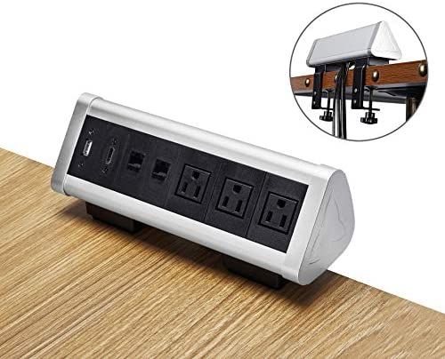 Kungfuking Removable Clamp Desktop Power Station 3-Outlet Power Strip Surge Protector, Office Desk Mountable Power Outlet with USB Charging Port, HDMI Port and 2 RJ45 Ports, Desk Edge Clamp Socket