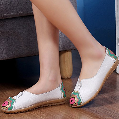Vogstyle Women's Loafers Flat Casual Comfort Office Work Flats Sandals Slip Ons White cFaqW4uq