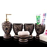 5-Piece Resin Bathroom Accessory Set with Soap Dish, Dispenser, Toothbrush Holder and Tumbler, Brown