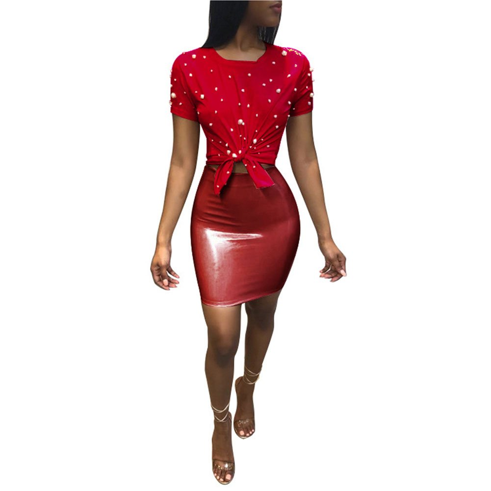 7004b66a8a Women 2 Piece Outfits Clubwear Beading Pearls Top with Short Bodycon PU  Skirt Set at Amazon Women's Clothing store: