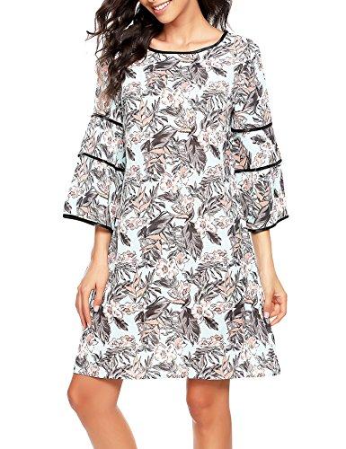Zeagoo Women Summer Casual Floral Print Ruffle Flare Bell Sleeve 3/4 Sleeve Adorable Shift Dress (Occasion Dress Shift Print)