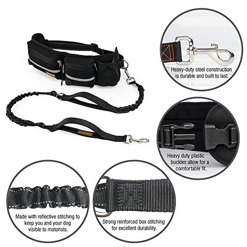 Hands Free Dog Leash, Dog Walking and Training Belt with Shock Absorbing Bungee Leash for up to 180lbs Large Dogs, Phone Pocket and Water Bottle Holder, Fits All Waist Sizes From 28'' to 48'' by FURRY BUDDY (Image #1)
