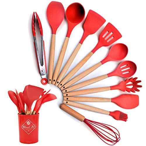 Liford Silicone Cooking Utensil Set,12 PCS Non-stick Silicone Cooking Utensils Set For Home or Picnic,Wooden Handle Heat…