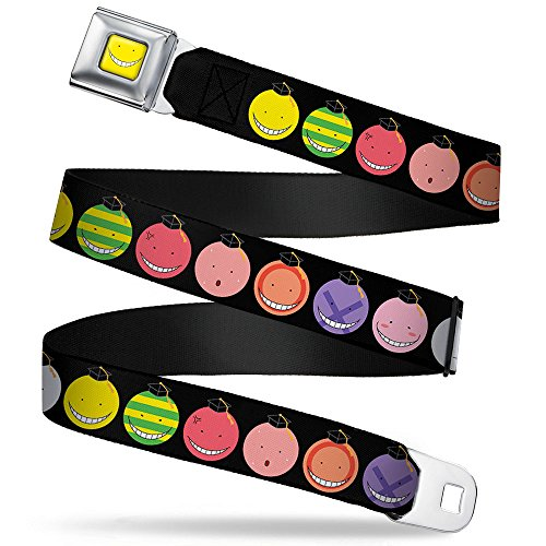 Korosensei Mood Expressions Black/multi Color Seatbelt Belt