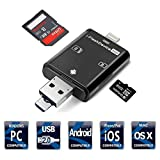 SD Card Reader, 3 in 1 Memory Card Reader for SD Card TF Card, Compatible Android Phones/iPhone Device /PC/Tablets