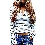 Long Sleeve Tops JUNKE Women Stripe T-Shirt Blouse (M)