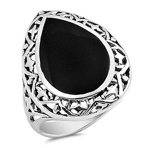 (Large Teardrop Simulated Black Onyx Filigree Ring New .925 Sterling Silver Band Size 6)