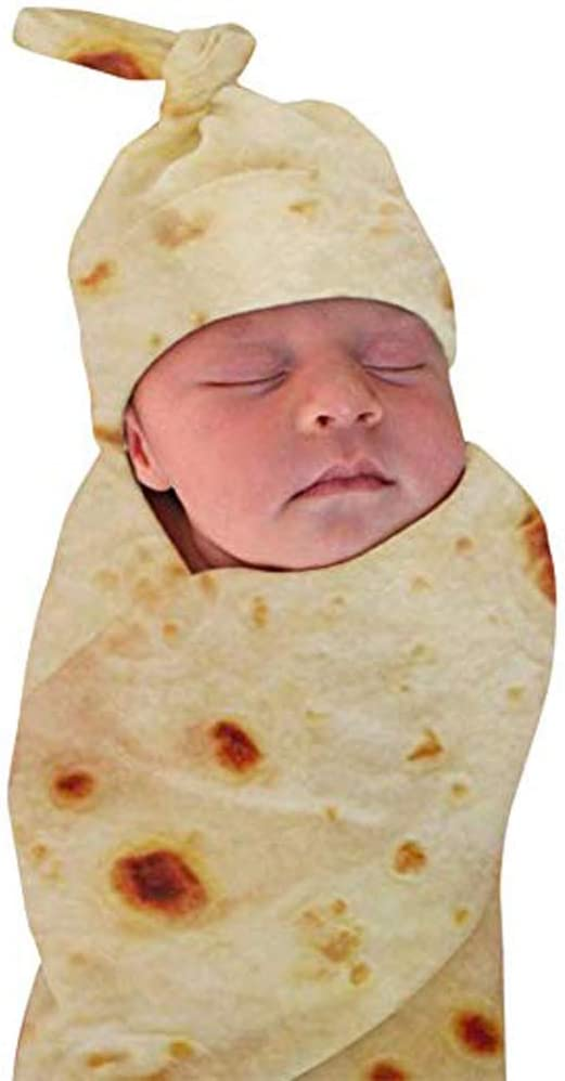 DDWT Newborn Baby Wrap Burrito Swaddle Blanket Tortilla Baby Blanket and Hat 34 Inch Soft Flannel Baby Burritos Safe Shower Blanket(0-6 Month)