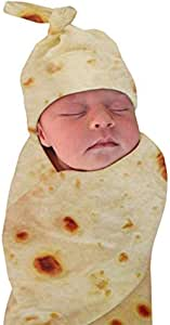 Newborn Baby Wrap Burrito Swaddle Blanket Tortilla Baby Blanket and Hat 34 Inch Soft Flannel Baby Burritos Safe Shower Blanket(0-6 Month)