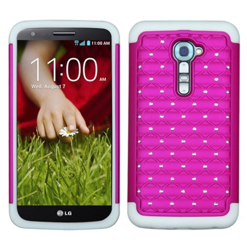 MyBat ASMYNA LG VS980 (G2) Luxurious Lattice Dazzling TotalDefense Protector Cover - Retail Packaging - Hot Pink/White