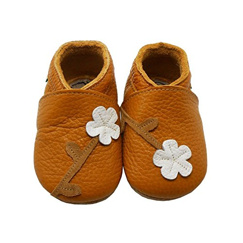 Sayoyo Baby Cute Plum Flower Soft Sole Leather Baby Shoes Baby Moccasins (6-12 months , Orange) - Leather Moccasin Shoes