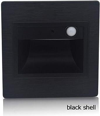 Sensor de movimiento Lámpara de pared Led lámpara de tubo de escalera sensor infrarrojo del cuerpo luz + sensor de luz lámpara de pared integrada escalera @ black shell_white (3500-5500k): Amazon.es: Iluminación
