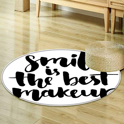 Dining Room Home Bedroom Carpet Lifestyle Decor Smile is The Best Makeup Inspirational Quote Handwritten Daily Motivations Design Black and White Non Slip Rug -