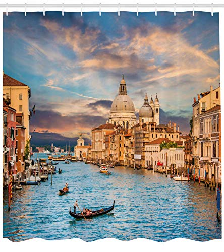 Venice Shower Curtain Gondola on Famous Canal Grande with Basilica di Santa Maria Della Salute in Evening Fabric Bathroom Decor Set with Hooks Extra Long Cream Blue 54