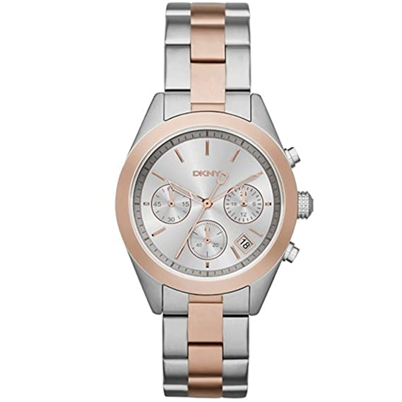 DKNY Reloj de mujer cuarzo 38mm correa de acero doble tono dial plata NY2270B: Amazon.es: Relojes