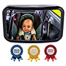 Baby Backseat Mirror for Car - View Infant in Rear Facing Car Seat - 100% Lifetime Satisfaction Guarantee - Best Newborn Safety With Secure Headrest Double-Strap - Essential Car Seat Accessories