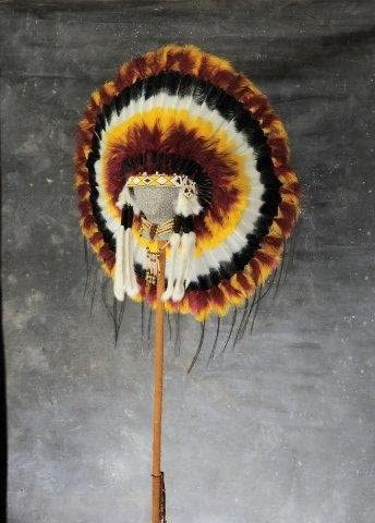 Long Native American Indian Sunset Color Feather Headdress Costume War Bonnet