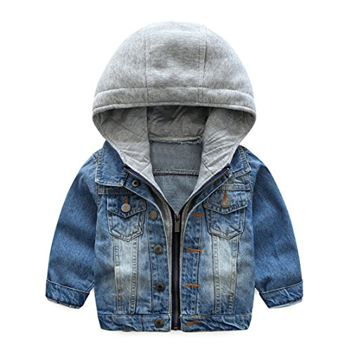 Goodluckclothes Boys'Cotton Denim Hooded Long Sleeve Zipper Jacket Outwear 2-8 (Cotton Jean Jacket)