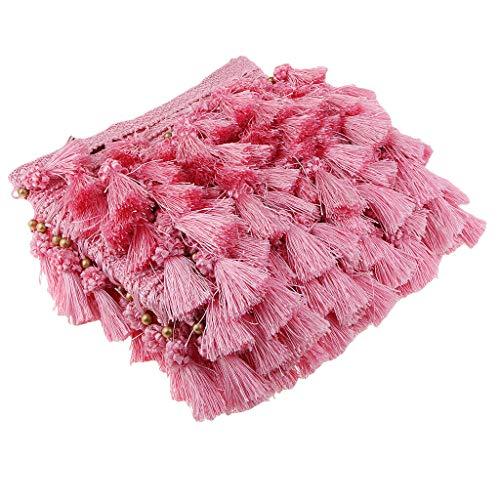 12 Meters DIY Curtain Cord Tassel Beaded Fringe Trim Sewing Costume Crafts | Color - Pink]()