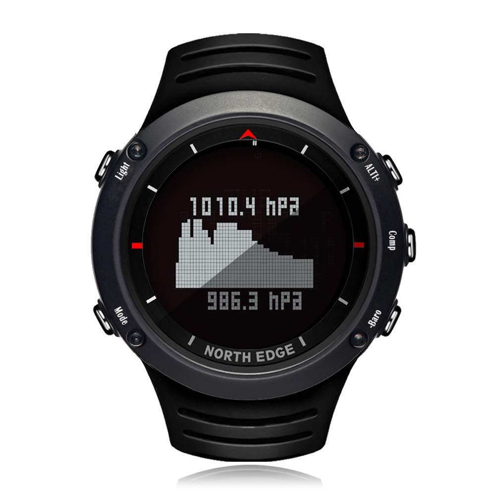 スマート屋外スポーツメンズ電子時計コンパスステップ50m 防水、気圧高度検出、天気予報,Black  Black B07HF67Z7G