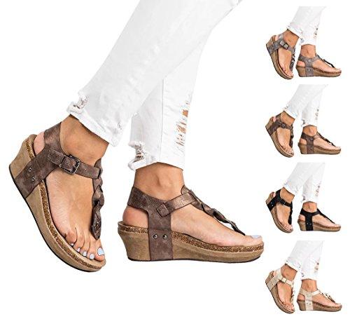 BIGTREE Strap Femmes Beach T Summer Flops Flip Chaussures Sandales Bohemian Thong Marron Plateforme Wedges ARrqwA