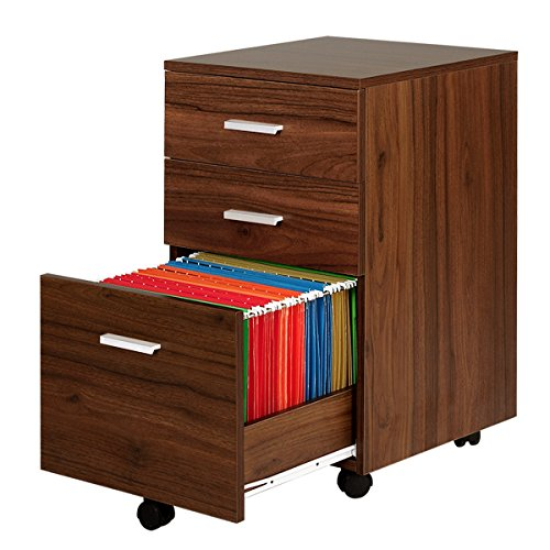 3 Drawer Wood File Cabinet with Wheels by DEVAISE(Walnut)