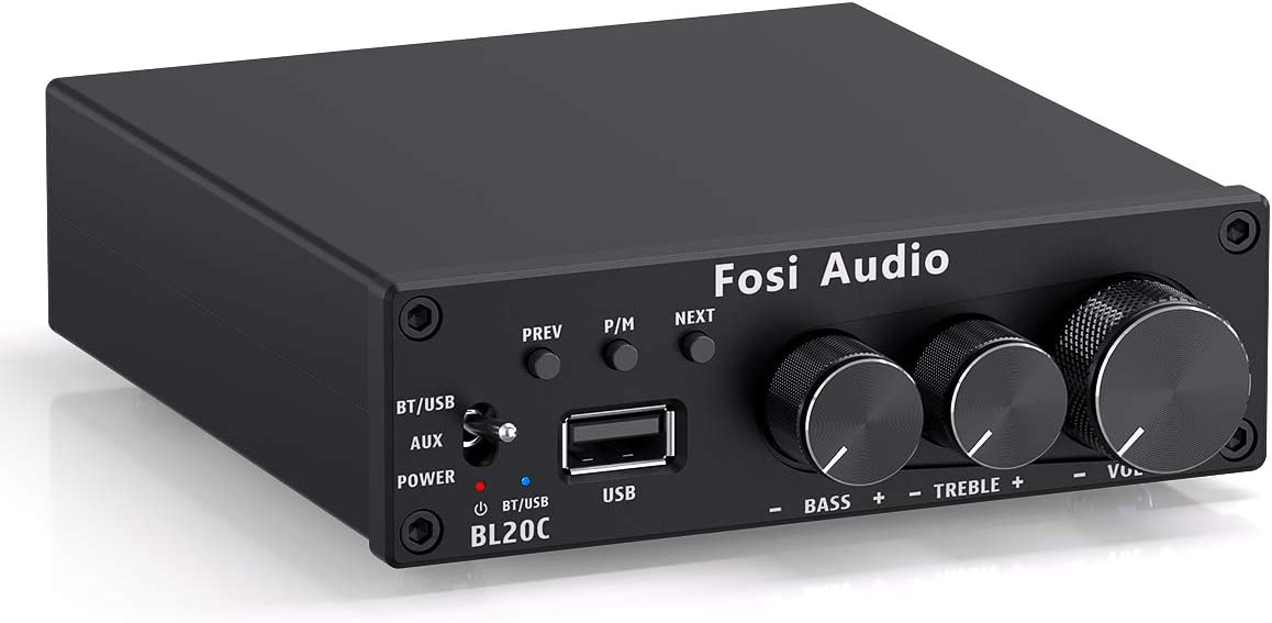 Fosi Audio BL20C Bluetooth 5.0 Stereo Audio Receiver Amplifier 2.1 CH Mini Hi-Fi Class D Integrated Amp U-Disk Player for Home Passive Speakers Powered Subwoofer 160W x2 TDA7498E (with Power Supply)