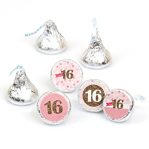 Sweet 16 - 16th Birthday Party Round Candy Sticker Favors - Labels Fit Hershey's Kisses (1 sheet of 108) (Party Favor For Sweet 16)