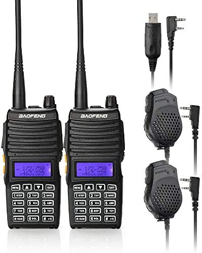 BAOFENG 2PCS UV-5X Mate Handheld Two-Way Radio VHF136-174MHz UHF400-520MHz Dual Display Standby Transceiver Walkie Talkie with 2xMic Tokmate Programming Cable