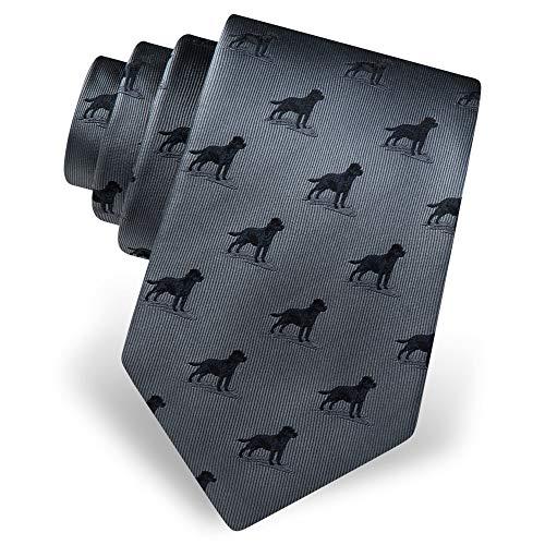 Mens 100% Silk Gray with Black Labrador Lab Dog Animal Tie Necktie