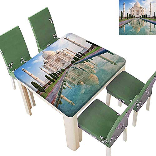 Printsonne Polyester Table Cloth Taj Mahal Sunrise Light Dia History Love Story Emperor L Scape Table 50 x 50 Inch (Elastic -