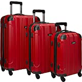 Kenneth Cole Reaction Out of Bounds Luggage 4-Wheel Abs 3-Piece Nested Set: 20'' Carry-on, 24'' 28'' Upright, Red