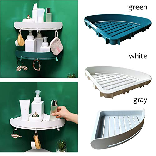 TTbuy Plastic Bathroom Kitchen Triangle Corner Organizer No Drilling Shelf Toothpaste Toothbrush Shampoo Soap Lotion Holder Small Tool Storage Rack Wall Mounted Toilet Paper Holders (Green)