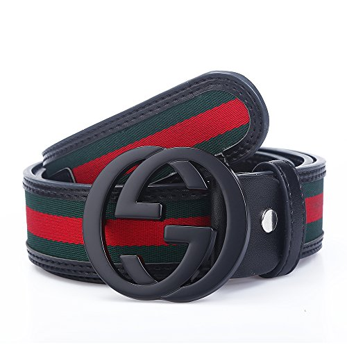 Godisdesign Men's Big G Buckle 38-mm Classic Green / Red / Green Leather Belt (115cm/45.3inch (40-42), Black - Belt Designer