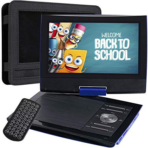 """SUNPIN 11"""" Portable DVD Player for Car with 9.5 Inch HD Swivel Screen, 5 Hours Rechargeable Battery, Dual Earphone Jack, Supports SD Card/USB/CD/DVD, with Extra Headrest Mount Case (Blue)"""