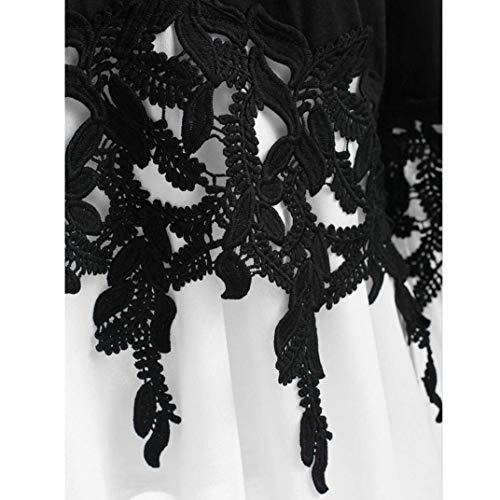 Tops Blanc Trompette Shirt Chic Mode Tee Festive Shirts V Automne Casual Vintage lgant Femme pissure Cou Printemps Haut Mousseline Manches Blouse Dentelle Costume qO14BPAFw