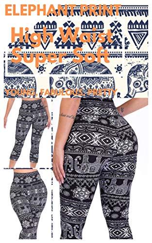 CAMPSNAIL Plus Size High Waisted Leggings for Women Yoga Pants Seamless Capri Leggings Compression Athletic Workout Leggings (US 14-24(Plus Size), Elephant)