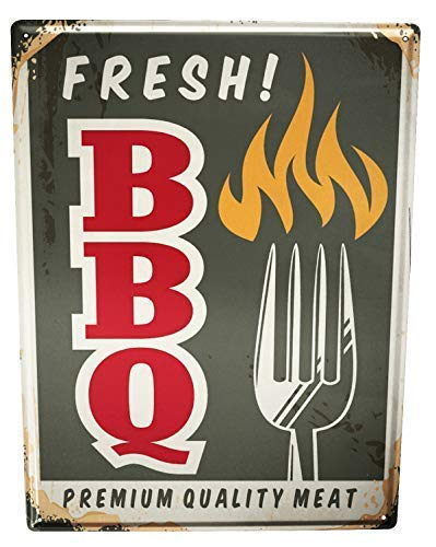 qidushop Nostalgic Fun Fresh BBQ Retro Metal Wall Decor Art ...